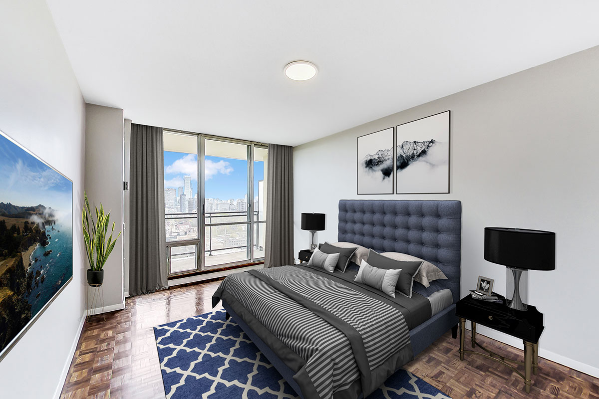 Bedroom with balcony in luxury two bedroom apartment - The Summerhill at Yonge & St. Clair