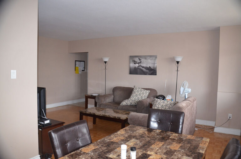 Living room in three bedroom apartment near Keele & Wilson - Humber River Apartments