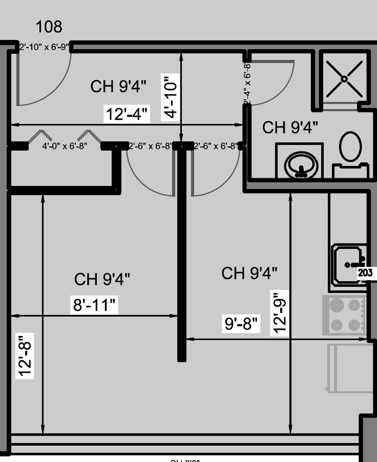 Floorplan of bachelor apartment at Humber River Apartments near Keele & Wilson