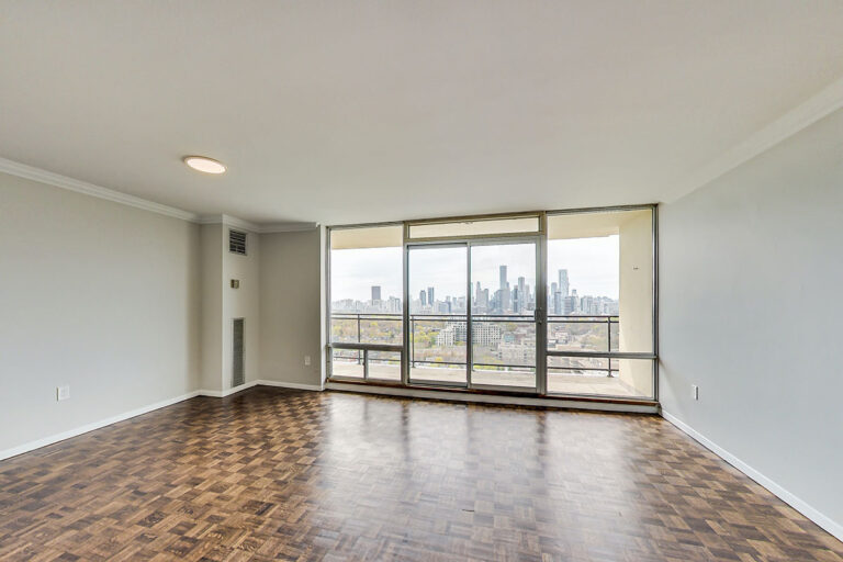Living room with balcony in luxury two bedroom apartment - The Summerhill at Yonge & St. Clair