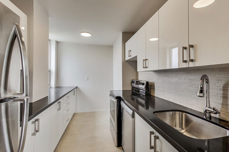 Galley kitchen in luxury two bedroom apartment - The Summerhill at Yonge & St. Clair