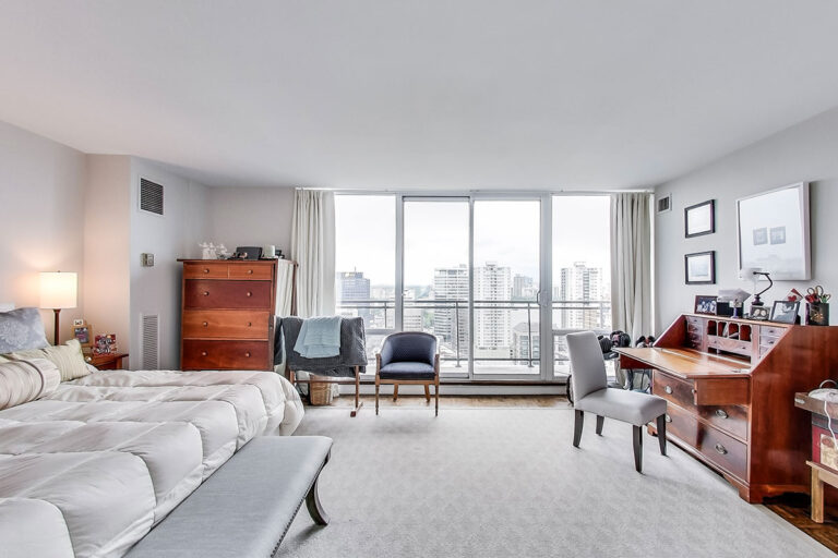 Master bedroom with balcony in luxury penthouse apartment - The Summerhill at Yonge & St. Clair