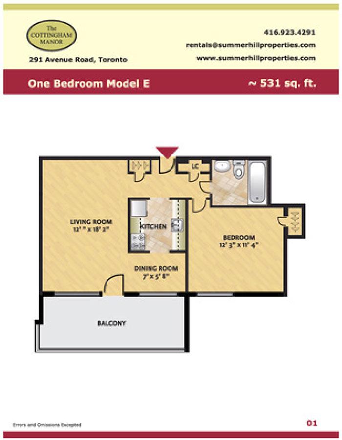 Floorplan of one bedroom model E at The Cottingham Manor near Avenue Road & Dupont
