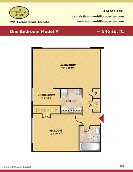 Floorplan of one bedroom model F at The Cottingham Manor near Avenue Road & Dupont