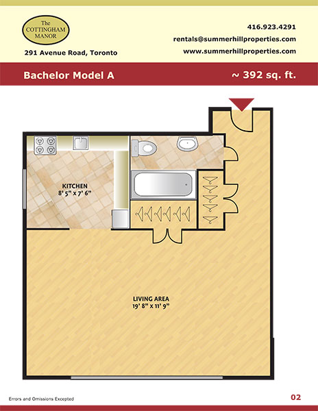 Floorplan of bachelor model A at The Cottingham Manor near Avenue Road & Dupont