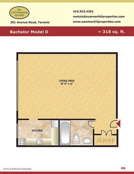 Floorplan of bachelor model D at The Cottingham Manor near Avenue Road & Dupont
