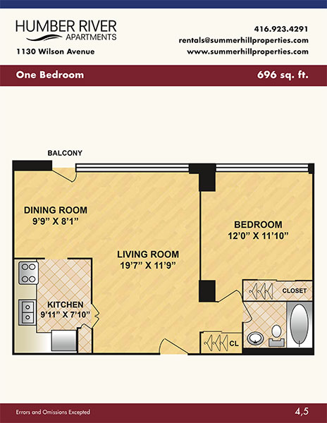 Floorplan of one bedroom apartment at Humber River Apartments near Keele & Wilson