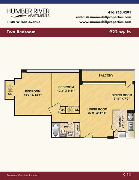 Floorplan of two bedroom apartment at Humber River Apartments near Keele & Wilson