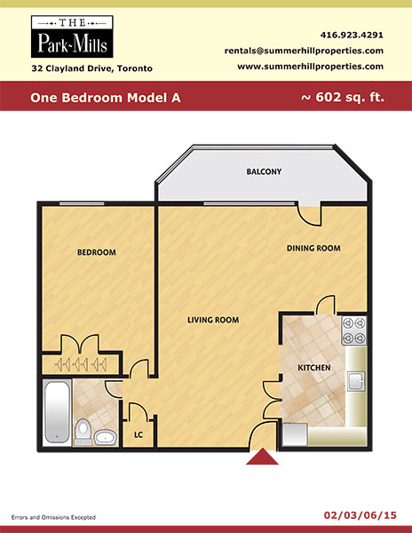Floorplan for one bedroom model A - The Park Mills at the 401 and DVP