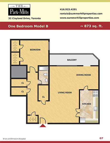 Floorplan for one bedroom model B - The Park Mills at the 401 and DVP