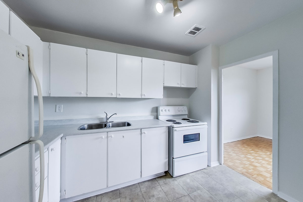 A kitchen at The Park Mills rental apartments in Toronto