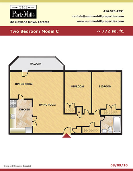 Floorplan for two bedroom model C - The Park Mills at the 401 and DVP