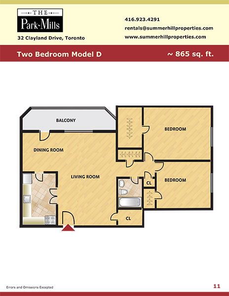 Floorplan for two bedroom model D - The Park Mills at the 401 and DVP