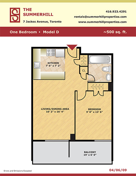 Floorplan of one bedroom apartment model D - The Summerhill at Yonge & St. Clair