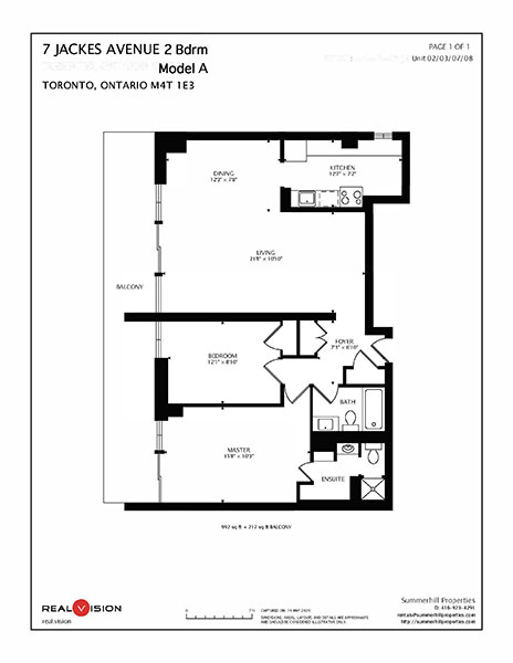 Floorplan for two bedroom luxury apartment - The Summerhill at Yonge & St. Clair