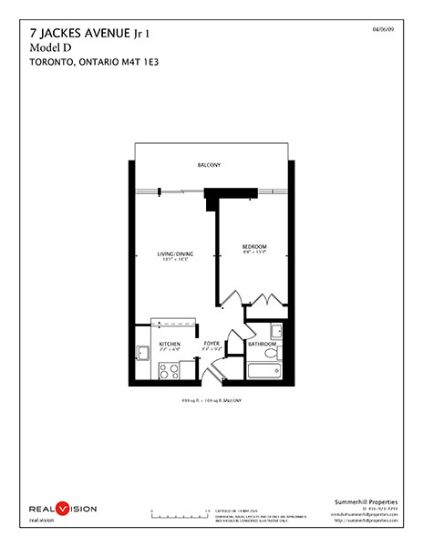 Floorplan for Jr. one bedroom apartment model D - 7 Jackes Avenue The Summerhill